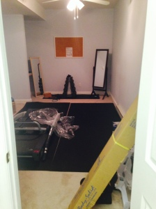 Still need to set up the multi-exercise station and treadmill, but you get the gist.